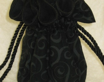 Anti Tarnish  Jewelry Pouch in Black with ghosted swirls