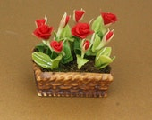 Dollhouse Miniature Handmade Clay Red Roses Flower With Ceramic Pot