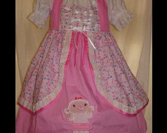 Doc Mcstuff Lambie inspired Dress(-----)Peasant Style(-----)Lambie Applique(-----)Corset Detail(-----)Sizes 18 months-Girls size 8