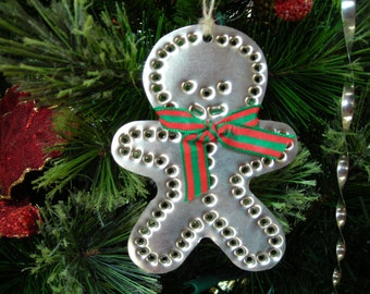 Gingerbread Boy Tin Ornament Silver Tin Punch Old Fashioned Hand Cut By West Tinworks