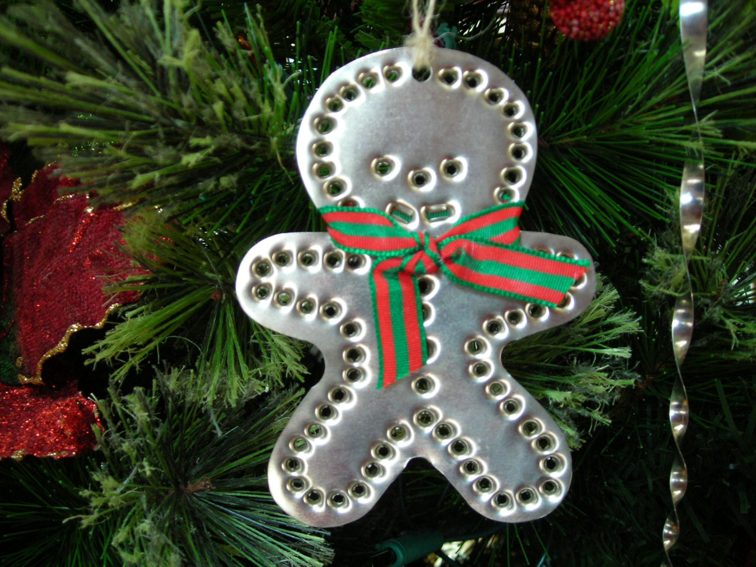 Gingerbread boy tin ornament silver metal punch old
