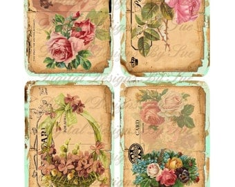 INSTANT DOWNLOAD  Tattered Flower Postcards - 3x5 - Printable  Digital Collage Sheet - Download Images - Tags - Romantic