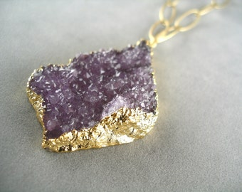 50% OFF SALE! Amethyst Druzy Necklace on Long Matte Gold Chain
