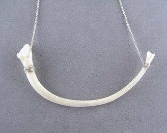 snake rib bone necklace in sterling silver