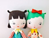 Hand made rag doll girls toy mint green baby yoyo Lucille