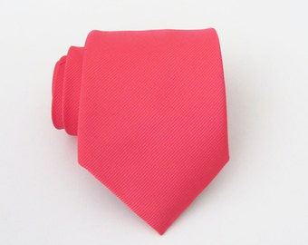 Mens Tie - Coral Tonal Striped Silk Necktie With Matching Pocket Square Option