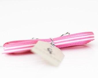 Pink and White Narrow Stripe Grosgrain Ribbon