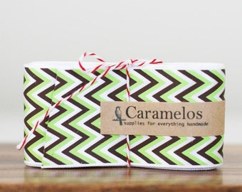 Clearance! 3 Yards of Lime green, Brown and White Chevron Stripe ribbon