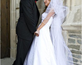 Custom Handmade 1, 2, or 3 Tier Cathedral Veil With a Pencil Edge Bridal Wedding Starting At Only 39.99