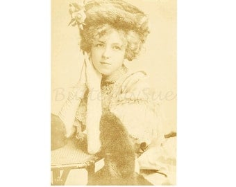 Edwardian Real Photographic Postcard, English Actress Gertrude Glynn,1900s Sepia Toned