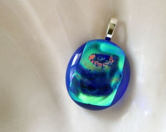 Blue Peacock Dichroic Glass Pendant - Fused Glass