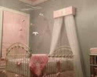 Bed Canopy Shabby Chic DOSEL Light pink Silver Crown Topper Upholstered Bedroom SaLe