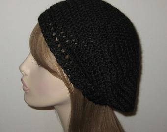 Slouchy Beret Black Alpaca Winter Wool Hat