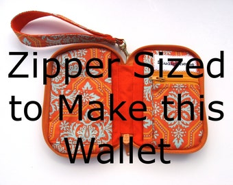 One  Zipper to use with the Zip Around Wallet Pattern 14 color options