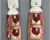 Hanging Kitchen Towels Roosters Matching Pair