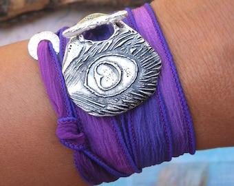 Summer Trend, Summer Fashion, Summer Jewelry, Summer Bracelet, Summer Peacock Feather Silk Wrap Bracelet, Summer Style Accessory Summer