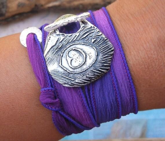 Fall Fashion Trend, Fall Fashion, Autumn Jewelry, Fall Bracelet, Fall Peacock Feather Silk Wrap Bracelet, Fall Style Accessory for Autumn