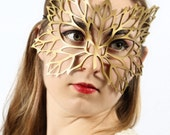 Lacy Leaf leather Art Nouveau mask in gold