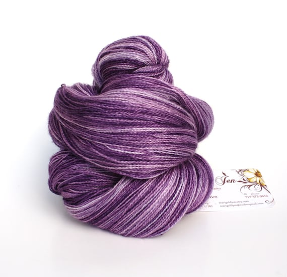 Lace Weight Yarn : Lavender Sachet--hand dyed lace weight yarn, BFL and silk, (875yds ...