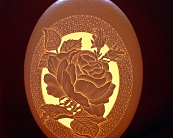 Carved and Sculpted Ostrich Egg - Rose
