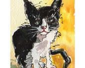 CuteTuxedo Cat ACEO Giclee Reproduction Print from original watercolor small art 3.5 X 2.5 - MyMaineVintage