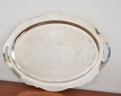 Large vintage silver plated oval footed serving tray