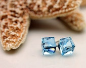 Swarovski Crystal Square Cube Crystal Post Earrings in Light Blue 6mm