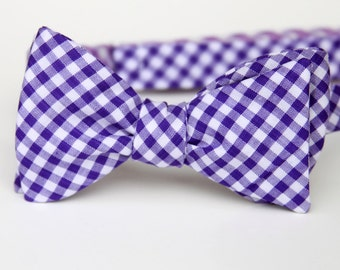 violet gingham freestyle bow tie for men