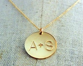 Couples Initial Necklace | Gold Couples Charm Jewelry |  Personalized Necklace | Custom Gold Filled Charm Hand Stamped YOU + ME ERiaDesigns
