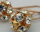 Gold Rhinestone Ball Disco Earrings, Solid Bronze Earwires Yellow Gold Tone by E. Ria Designs