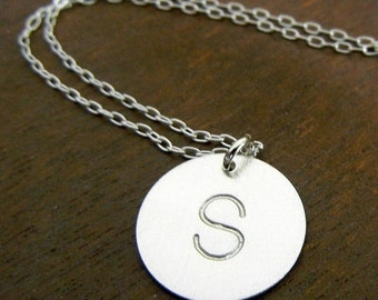 Simple Letter Necklace, Sterling Silver Initial Charm Necklace, DOT Hand Stamped .925 by E. Ria Designs