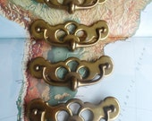 SALE! 4 wide vintage open design brass metal curvy pull handles