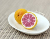 Fruit Grapefruit Earrings - Miniature Food Jewelry - Pink & Yellow Studs