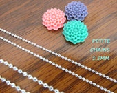 10 PETITE Silver Shiny Plated Ball Chains 24 inches Necklaces 1.5mm