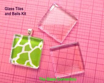 20 Glass Tiles 20 Aanraku Bails Pendant Kit Combo 7/8 inch 23mm