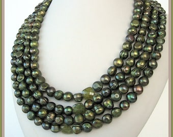 Necklace - Potato Olive PEARLs - Green GARNETs- Sterling Silver- Gift for her