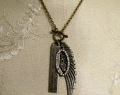 Reserved for Julie, Please ... Know in Your Heart necklace - Wing, Rhinestone, French Inspired Vintage Statement Necklace
