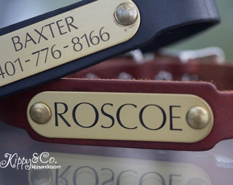 Personalized Pet Collar, Leather Dog Collar, Engraved Dog Collar, Personalized Leather Dog Collar