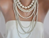 Multistrand pearl necklace ,long necklace, Weddings ,Multi Strand Pearl Necklace, Chunky Layered Brides Necklace with Rhinestone Chain