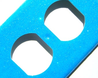 Glitter Outlet Cover -- Bright Blue