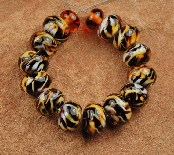 Glass Lampwork Beads, Topaz Tiger Stripes SRA 634 by CC Design
