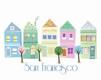 San Francisco Victorian Houses Art Poster Illustration Print Painted Ladies