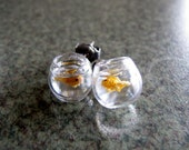 Goldfish Bowl Earrings Miniature Pet Gold Fish On The Go