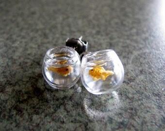 Goldfish Bowl Earrings Miniature Pet Gold Fish On The Go