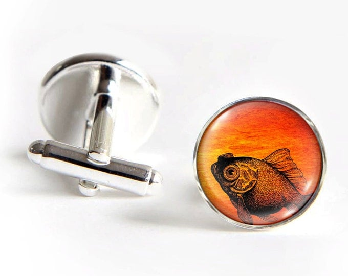 GOLDFISH Cufflinks silver 18mm cuff links Gifts for him