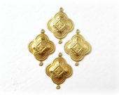 Raw Brass Quatrefoil Connectors, 4 Pcs, Made in the USA