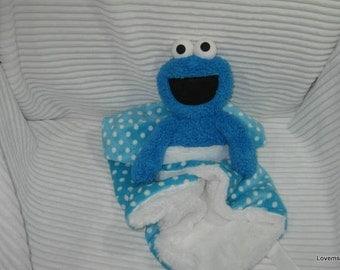 Security Blanket, Baby Blanket, Lovie,  - Xtra large Blue monster