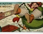 Vintage Comic Postcard - Large Woman Falls On Ice - 1910