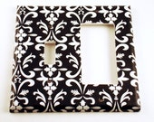 Wall Decor Light Switch Cover Rocker Combo Switchplate  in  Black Damask (179RC)