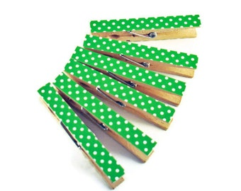 Altered Clothespin  Clips  Decorative  Wooden Clothespins in Lime Polka Dots